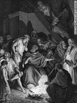 After Jesus was arrested, Peter denied knowing him three times, as shown in this engraving after an original work by Gustave Dore.