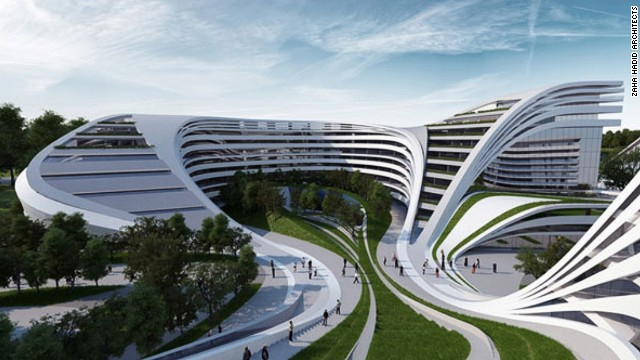 Zaha Hadid's plan for the redevelopment of a disused factory in Belgrade, Serbia, gives a lesson in regeneration with style. Indoor and outdoor spaces are seamlessly fused by meandering flow lines, seductively enticing visitors to go in.