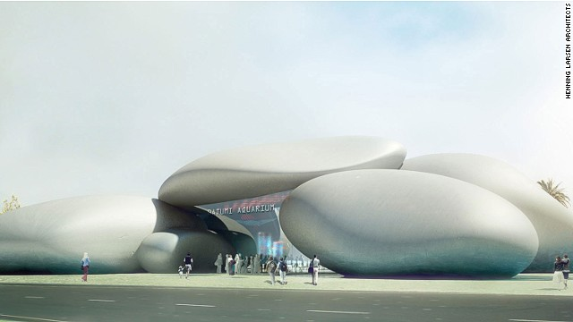 The Batumi Aquarium in the seaside city of Batumi, Georgia, is inspired by pebbles that wash out on its beaches. The structure, which resembles a rock formation, is due for completion in 2015, and will be visible from both land and sea.