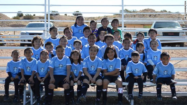 Youngsters attending Begay's foundation are keen participants in soccer programs.