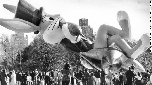 Bugs Bunny levitates over the Great Lawn in Central Park. The big balloon was given a trial run before it's debut at the Macy's Parade in 1989.