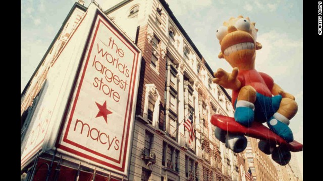 """Cowabunga!"" Bart Simpson skateboards down Broadway, making his debut in 1990. In 1993 ""El Barto"" split his seams due to the extremely windy conditions."