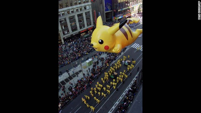 """Pikachu, I choose you"" to float over New York in its first appearance in the Macy's parade in 2001. The loveable Pokemon wasn't the only balloon to debut that year. Curious George, Big Bird, Jimmy Neutron and Cheesasaurus Rex glided their way above the crowds."