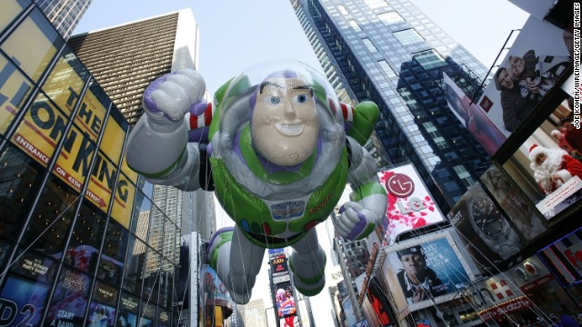Buzz Lightyear floats down Broadway at the 82nd parade in 2008.