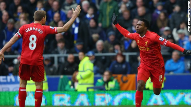 Steven Gerrard set up Daniel Sturridge's late leveler in Liverpool's pulsating 3-3 draw against Everton.