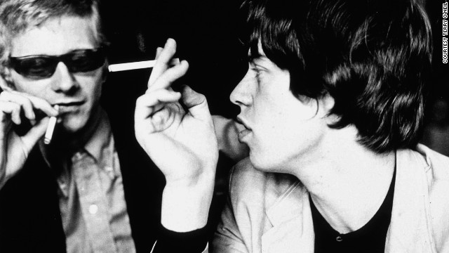 "Stones manager Andrew Loog Oldham and Mick Jagger. ""The big difference between the Beatles and the Stones were [that] the Beatles made it in America. The Stones were made <i>by</i> America,"" says Oldham."