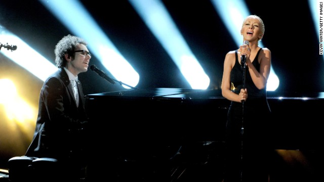 "Ian Axel of A Great Big World and Christina Aguilera perform ""Say Something."""