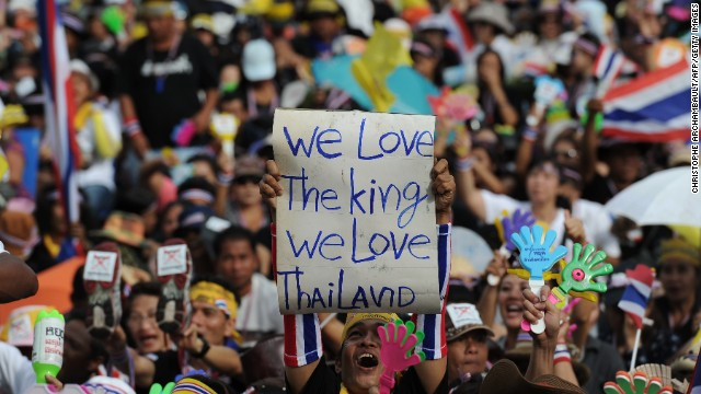 Anti-government protesters are calling for Thai Prime Minister Yingluck Shinawatra to step down, claiming she is a stooge for her brother, the exiled former prime minister Thaksin Shinawatra.