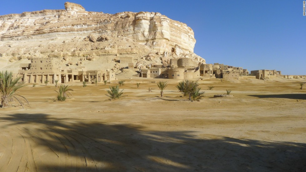 The Siwa Oasis is an isolated desert oasis in Egypt, close to the Libyan border. While visitors will have to do without cell phones and Wi-Fi, there are still home comforts at the Adrere Amellal Ecolodge -- pictured.
