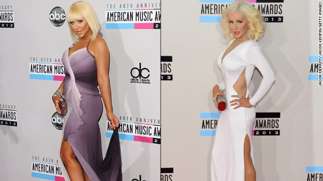 Christina Aguilera turned heads on the American Music Awards' red carpet for two years in a row. At the awards ceremony in 2013, Aguilera surprised onlookers by arriving in a skin-tight white gown with revealing cutouts, displaying a much different look than her voluptuous appearance (right) at the 2012 event.