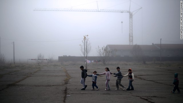 Young Syrian refugees play at the recently opened Vrazhdebna shelter in Sofia, Bulgaria, on Friday, November 22.