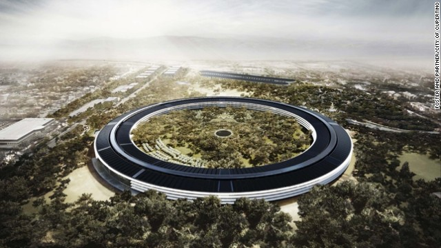 The design for Apple's new headquarters looks more suited to the set of Star Wars than Cupertino, California. The round structure has been compared to a space ship and the tree-filled central green space is the size of a small forest. Let's hope GPS systems are included in employee benefits...