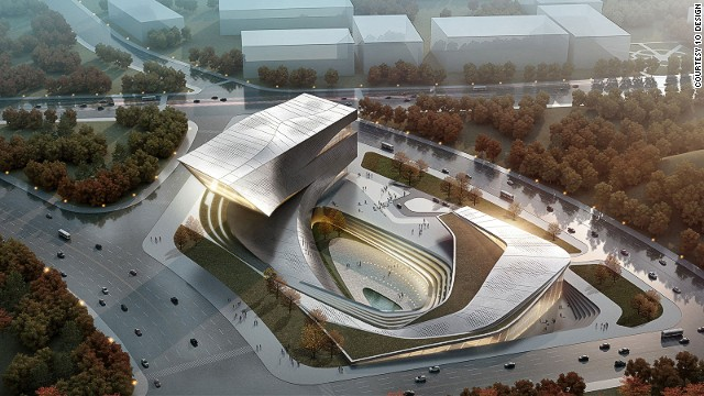 The library in the Chinese city of Dalian is designed to curve sensuously around a central core that will house a public space with a water feature. The building weaves into the ground creating a series of courtyards, before sweeping into the air forming a bold landmark.