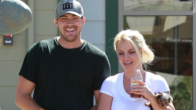 Spears and her boyfriend David Lucado go out for a stroll in 2013.