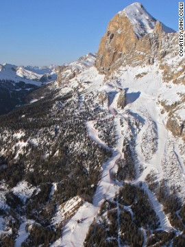 """The Dolomites are the most beautiful mountains in the world and the run goes straight down past the famous Tofana Shute,"" says Pamela Thorburn, a member of Great Britain's ski-X team."