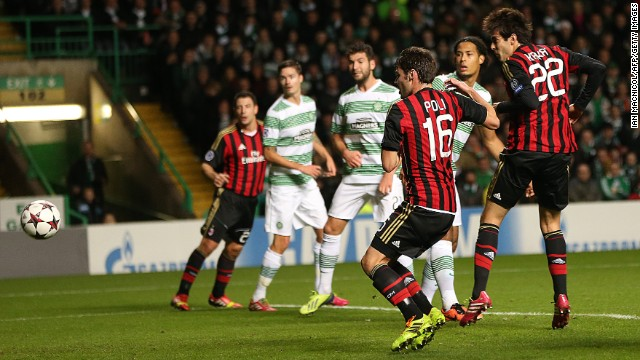 Kaka opens the scoring for AC Milan against Scottish champions Celtic.