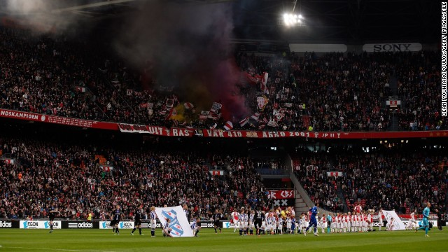 A picture taken earlier this year of the Amsterdam Arena, where the fan fell on Tuesday.