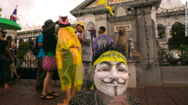Anti-government protesters demonstrate outside the Ministry of Interior in a bid to oust the current government of Yingluck Shinawatra November 26, 2013 in Bangkok,Thailand.