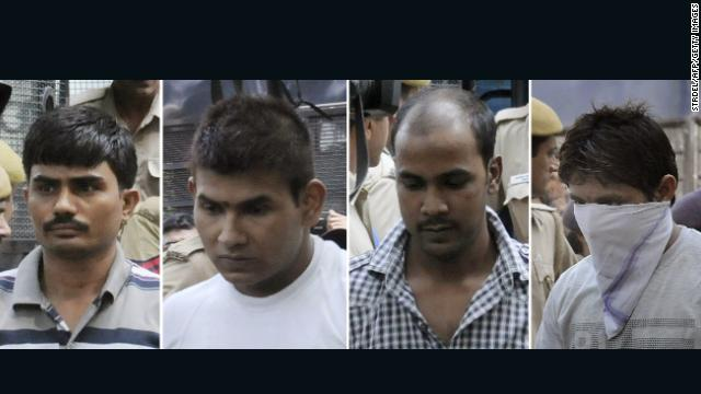 This shows the four convicted prisoners for the murder and gang rape of Nirbhaya. From left to right: Akshay Thakur, Vinay Sharma, Mukesh Singh and Pawan Gupta.
