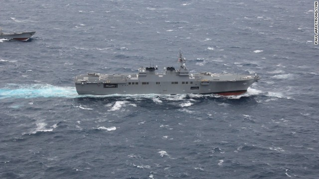 The Japanese task force, commanded by Vice Admiral Yasushi Matsushita, featured many of its own state-of-the-art vessels, including this Hyūga-class helicopter carrier.