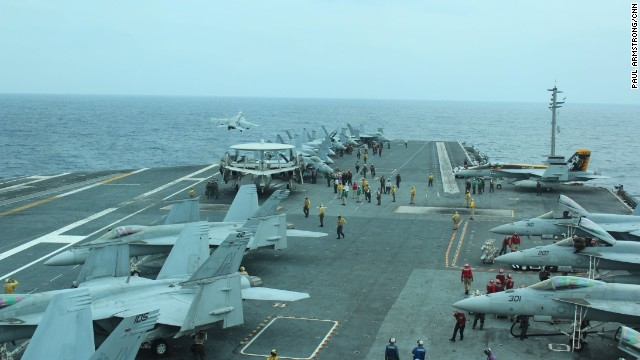 Almost every few minutes an F-18 fighter jet roared off the deck as a massive joint exercise with the Japan Maritime Self-Defense Force got underway.