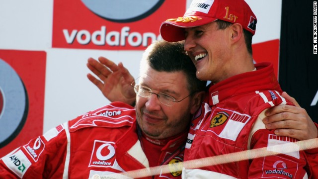 Ross Brawn, leaving Mercedes at the end of 2013, achieved great success with Michael Schumacher, right, at Ferrari.