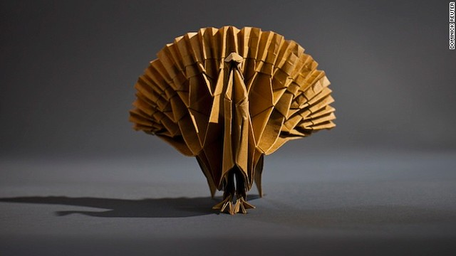 This particular model of a turkey was one of the more challenging shapes and took around four hours to fold.