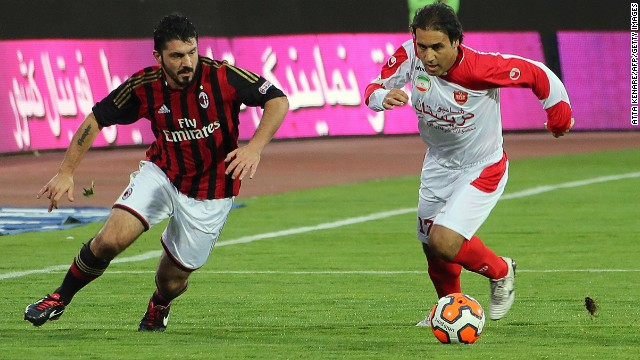 The 36-year-old played more than 100 times for his country and spent eight years at German club Hamburg. He is seen (right) here with Gennaro Gattuso, who won the World Cup with Italy in 2006 and the European Champions League twice with Milan.