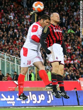 Former Italy defender Pietro Vierchowod played more than 550 games in Serie A, but had only a brief spell at Milan late in his career. The 54-year-old here contests a header with Payan Rafat, who had two spells with Persepolis -- one of Asia's most popular clubs -- before becoming a coach.