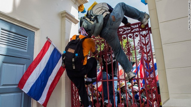 Anti-government protesters occupied the army headquarters on November 29, 2013 in Bangkok, Thailand, despite calls from the country's prime minister for protesters to cease their sustained demonstrations and negotiate an end to the nation's latest crisis.