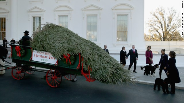 Michelle Obama welcomes the White House Christmas tree