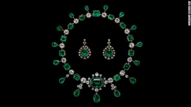 This necklace is believed to have been made of emeralds Catherine the Great, empress of Russia, gave to the second Earl of Buckinghamshire who was the British ambassador to her court. The two were rumored to have had a love affair (the earrings were made from different stones).<!-- --> </br>