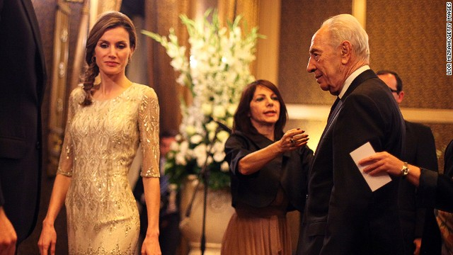 Letizia, Princes of Asturias, a former TV journalist, is known for her demure and chic style. Here she is pictured with Israeli president Shimon Peres during a visit to the country in 2011.