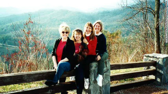 The four friends often stop at this overlook between Dillard, Georgia, and Highlands, North Carolina. Wade, Plevyak, Schoninger and Benken are shown here in 2001.