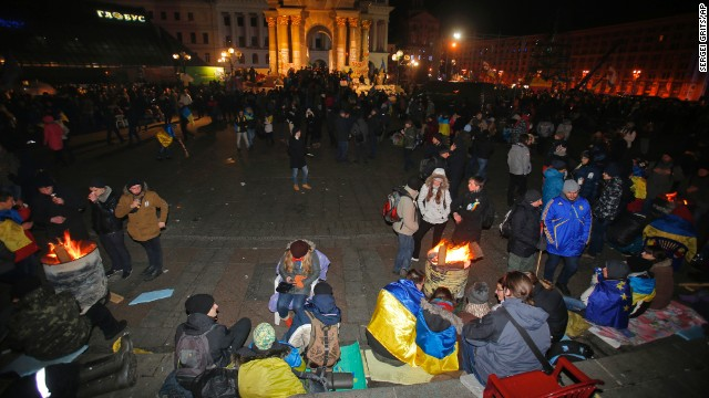 Protesters gather over bonfires November 30.