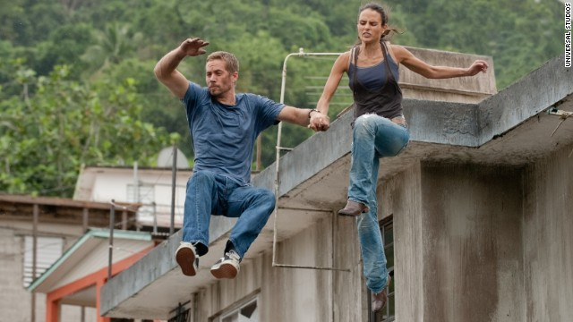 "Walker and Jordana Brewster appear in ""Fast 5."""