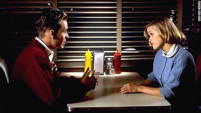 "Walker and Reese Witherspoon in a scene from the film ""Pleasantville."""