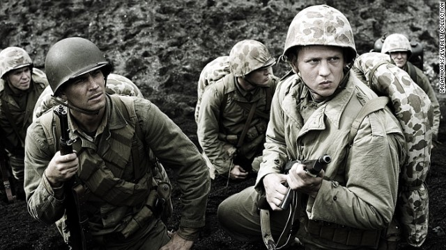 "Walker, left, and Barry Pepper were U.S. Marines in the drama ""Flags of Our Fathers."""