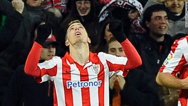 Iker Muniain celebrates his 70th minute winner for Athletic Bilbao against Barcelona in the San Mames.