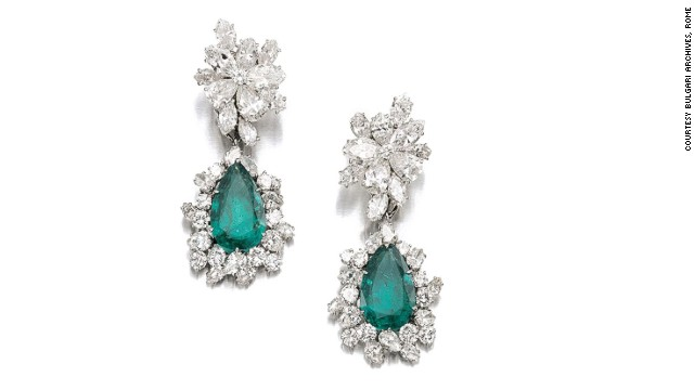 The intricate emerald and diamond earrings were made by the Italian jeweler Bulgari in 1964, and were auctioned by Sotheby's in May.