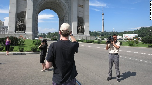 Group tours of Pyongyang are often accompanied by a North Korea cameraman, in addition to two or three guides. The cameraman accompanies the group to many of the main tourist sites and then offers tourists a DVD of their trip for about 15 Euro (US$20).