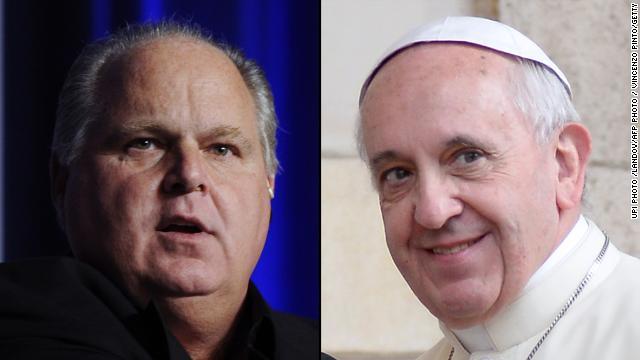 Talk show radio host Rush Limbaugh, left, condemns Pope Francis' proclamation of the Catholic gospel as