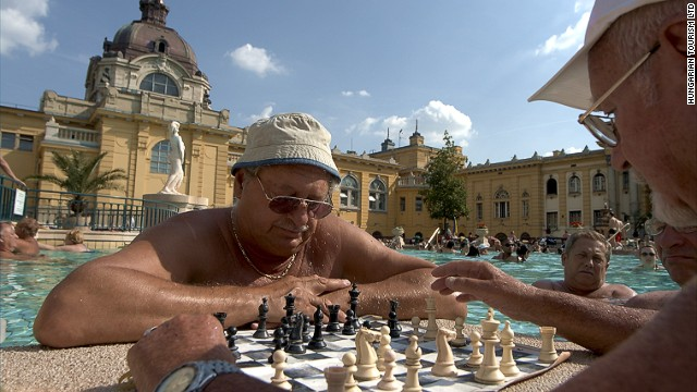 Pest has the open-air Széchenyi Baths, where you can still find old men playing chess, half-immersed in water.