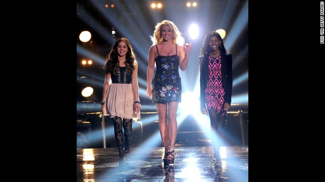 "From left, contestant Carly Rose Sonenclar, judge Britney Spears and contestant Diamond White appear on Fox's ""The X Factor"" during Season 2 in 2012."