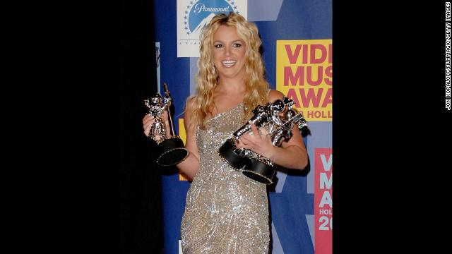 Spears poses in the press room at the 2008 MTV Video Music Awards at Paramount Pictures Studios in Los Angeles.