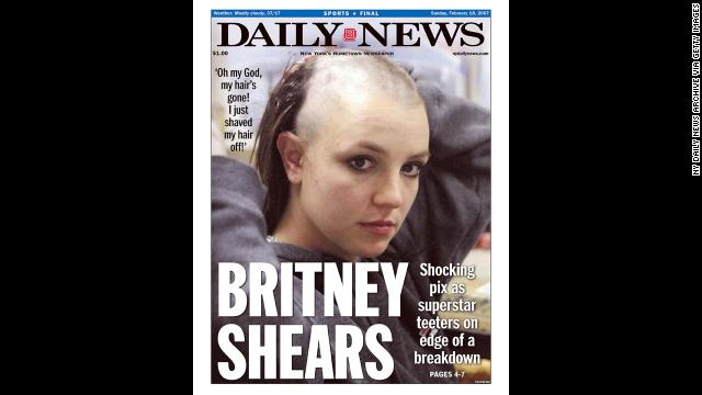 A Daily News front page dated February 18, 2007, shows Spears after she shaved her head. Headlines at the time focused on whether the star was in the midst of a breakdown.