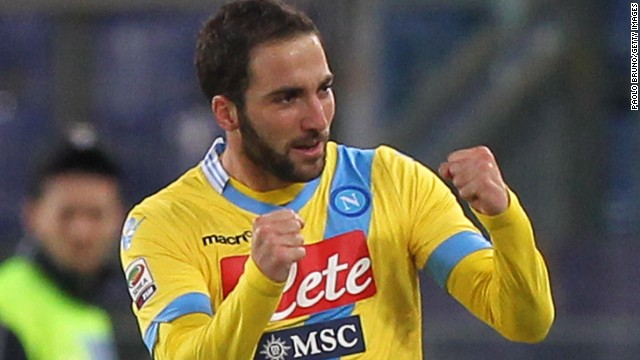Napoli striker Gonzalo Higuain celebrates after scoring the opening goal of Monday's Serie A match at Lazio's Stadio Olimpico.