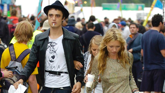 Her turbulent, on-and-off relationship with musician Pete Doherty regularly captured headlines in the British press for all the wrong reasons. The couple are seen here trenching through the mud on the third day of the Glastonbury Music Festival 2005 at Worthy Farm.