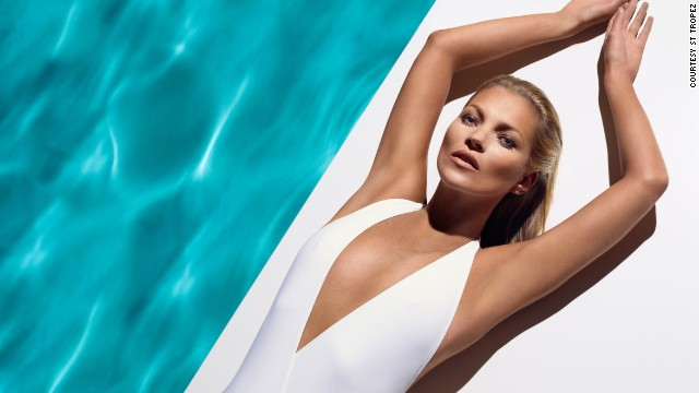 Here, Moss models for global self-tan brand St Tropez. Indeed her roster of clients spans from the likes of Bulgari, Dolce & Gabbana, Longchamp, and Versace to Virgin Mobile and Nikon cameras.