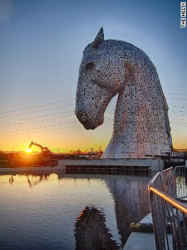"""The Kelpies"" cost a total of $8 million and are part of a wider project to regenerate 350 hectares of land near the city of Falkirk."